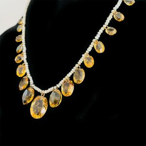 Edwardian Citrine & Natural pearl fringe necklace on 18ct, 18k gold barrel clasp