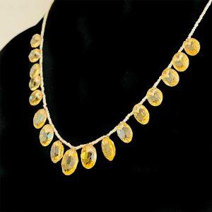 Edwardian Citrine & Natural pearl fringe necklace on 15ct, 15k, 625 gold clasp