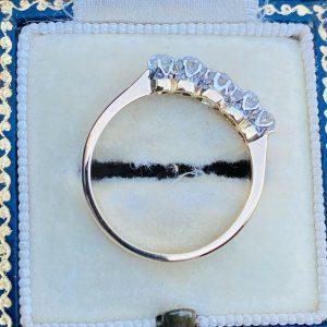 Edwardian 18ct, 18k, 750 Gold & Platinum Diamond 0.70ct 5-Stone engagement ring