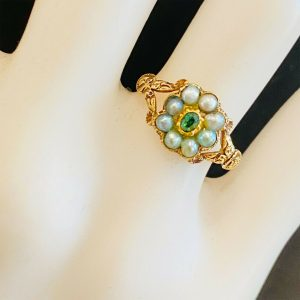 Early, Victorian 18ct, 18k, 750 Gold Natural Pearl & Emerald Posy, cluster ring