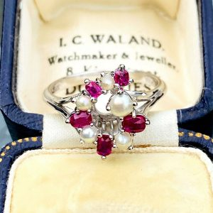 Fabulous 18ct, 18k, 750 white gold, Ruby & Pearl cluster, cocktail ring