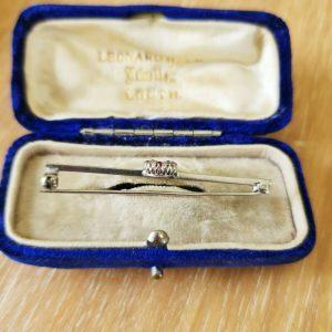 Edwardian Ruby and Diamond Lucky horseshoe bar brooch, tie pin, Circa 1905