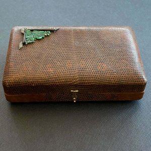 Art Deco, French minaudiere, vanity case with 18ct gold, Jade, diamonds & onyx