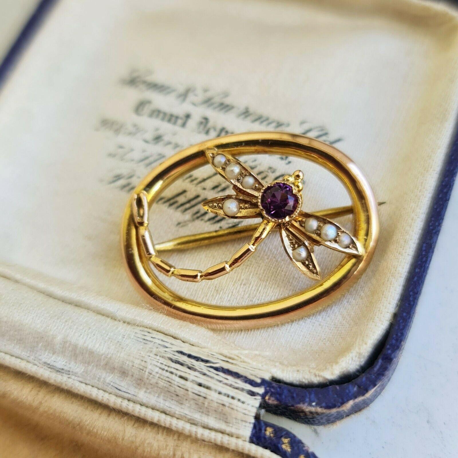 Edwardian 9ct, 9k, 375 Gold Amethyst & Pearl dragonfly brooch, Circa 1905