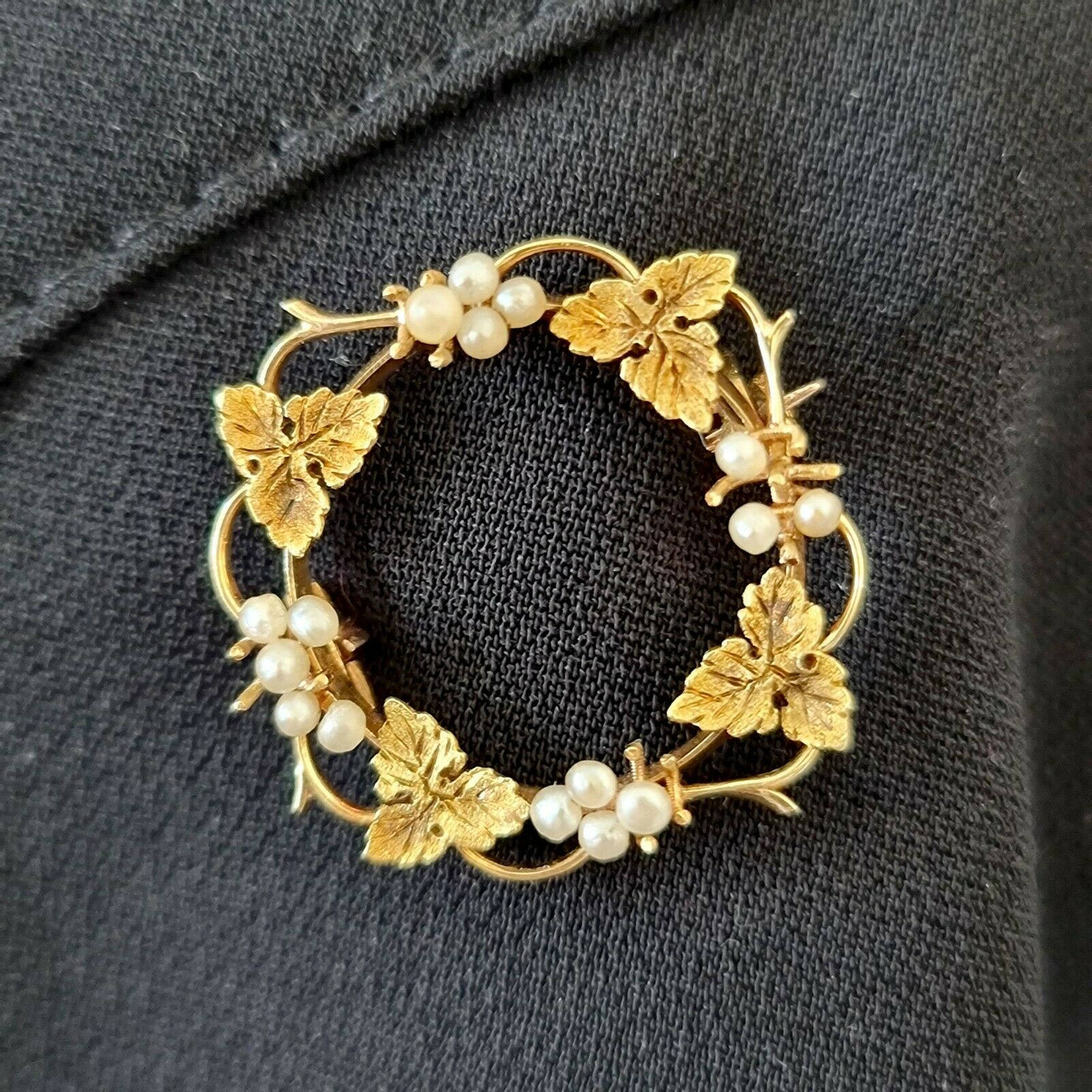 Victorian 15ct, 15k, 625 Gold Seed Pearl, vine leaf and grape brooch, Circa 1880
