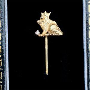 Vintage, Frog Prince 9ct Gold Diamond stick, tie, cravat, stock pin, Circa 1980
