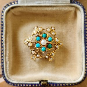 Edwardian 14ct, 14k, Gold, Pearl & Turquoise Snowflake, cluster brooch, Pendant