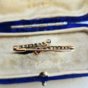 Art Nouveau 9ct Rose Gold Diamond, Ruby & Pearl Brooch, lace Pin, tie pin, C1895