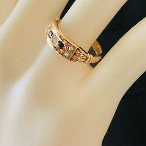 Edwardian 9ct 9k, Rose Gold Pearl, Garnet & diamond gypsy ring, Birmingham 1910