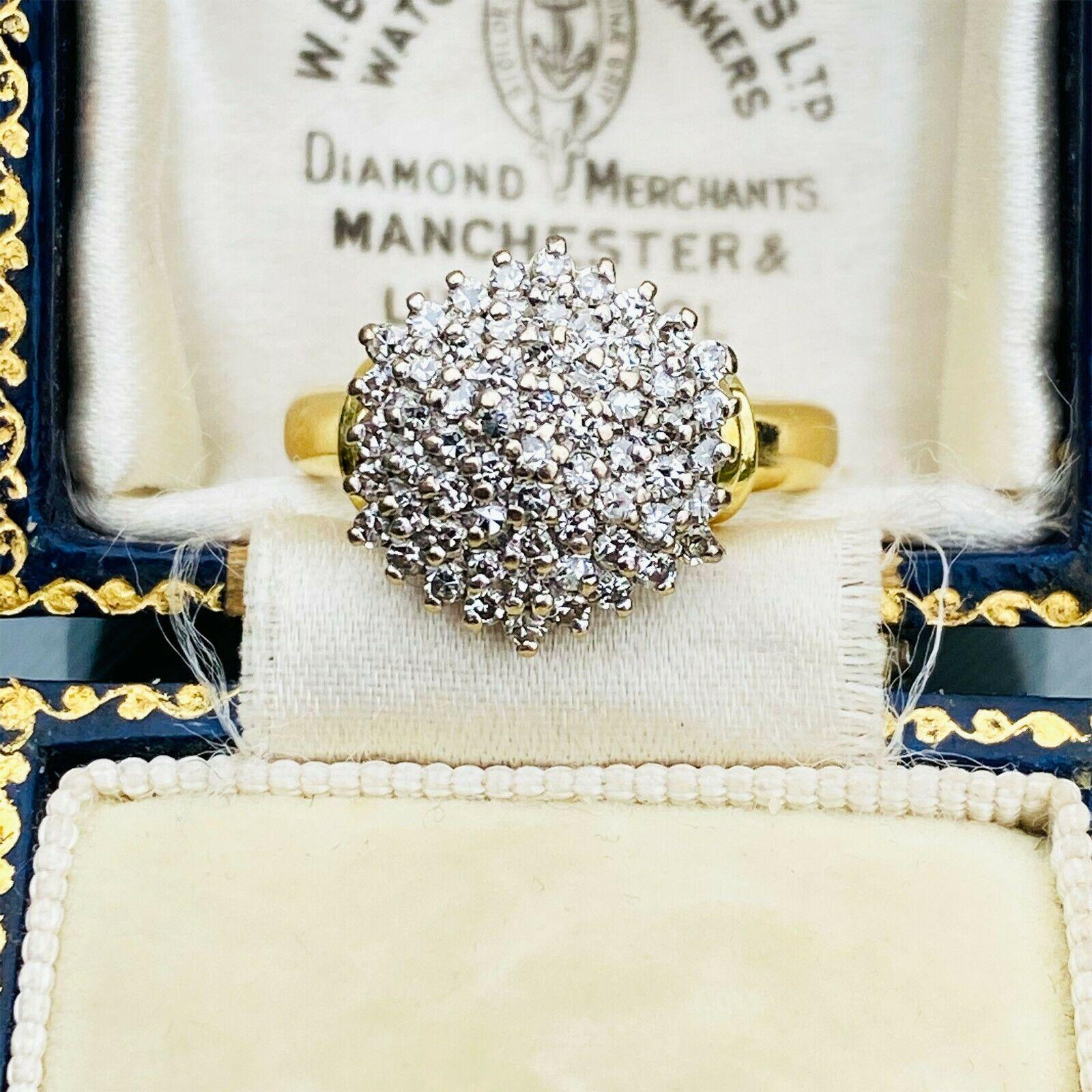 Stunning, Vintage 18ct, 18k, 750 Gold Diamond 0.60ct, cluster Ring, Circa 1988