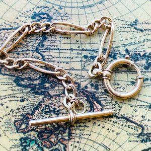 Edwardian 9ct, 9k, 375 Rose Gold bracelet with large bolt ring and T bar fitting