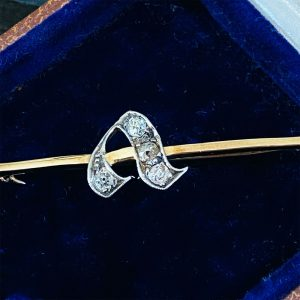 Edwardian 9ct, 9k, 375 Gold Diamond initial 'A' or 'V' letter brooch, tie pin