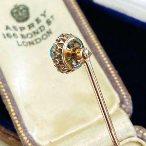 Art Nouveau 15ct 15k, 625 Gold Turquoise & Diamond Stick, Tie, cravat, lapel Pin