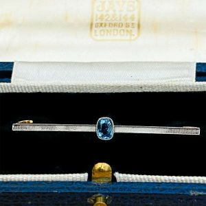 Edwardian 14ct, 14k, 585 gold & Platinum Aquamarine bar brooch, tie pin, C1910