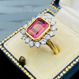 Fabulous, 18ct, 18k, 750 Gold pink Tourmaline & Diamond (4.50ct) Cluster Ring