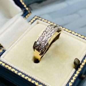 Vintage 18ct, 18k, Gold Diamond, 2-row eternity, anniversary, stacking ring 1974
