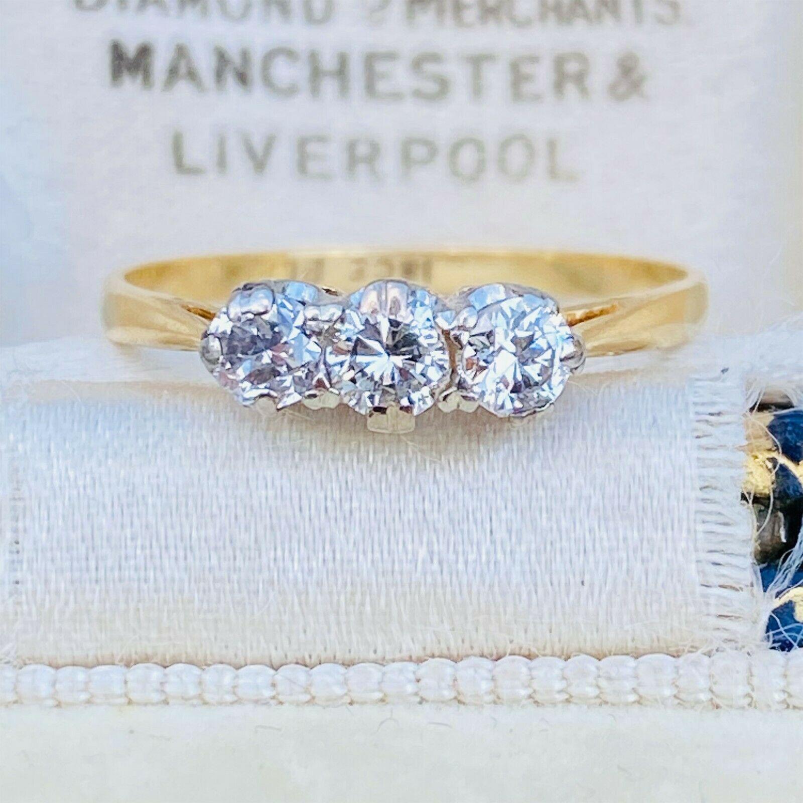 Art Deco 18ct 18k 750 Gold & Platinum Diamond 0.33ct three stone engagement ring