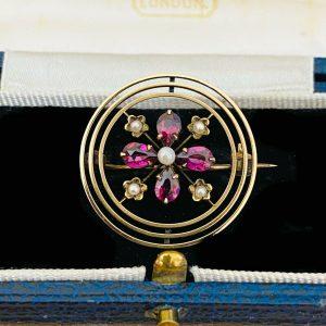 Art Nouveau 9ct, 9k, 375 Gold Tourmaline & Pearl circle brooch, pin C1895