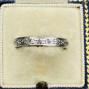 Art Deco, 14ct, 14k, 585 White Gold Diamond 0.20ct full eternity ring. Size UK O