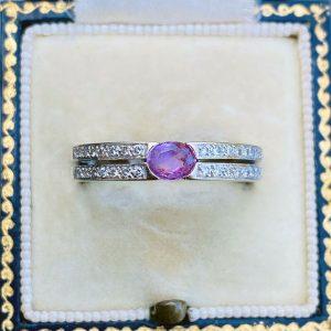 Stunning, 18ct, 18k, 750 white gold, Diamond 0.16ct & pink Sapphire 0.20ct ring