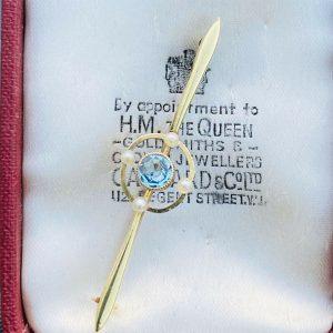 Edwardian 15ct, 15k, 625 Yellow Gold Aquamarine & Pearl target, bar brooch C1905