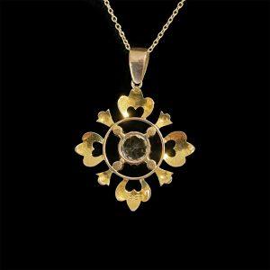 Art Nouveau 9ct, 9k, 375 Gold Rock Crystal & Pearl pendant, Circa 1895