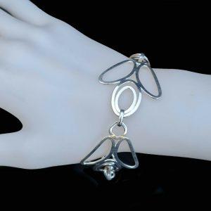 """Unusual, Modern Sterling Silver, fancy link bracelet, 7.5"""" / 19cm, 18grams"""