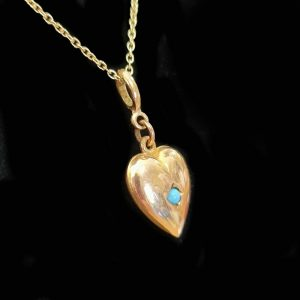 Antique, Victorian 15ct, 15k, 625 Gold Turquoise puffy Heart Pendant, Circa 1900