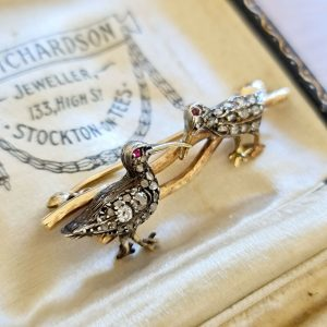 Edwardian 15ct, 15k, 625 Gold & Silver, Diamond and Ruby, Snipe birds brooch/pin