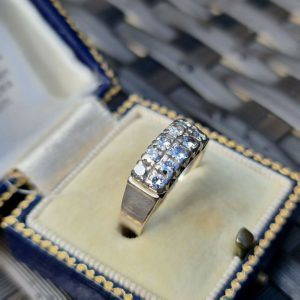 Modernist 18ct 18k 750 white gold Diamond double half eternity, anniversary ring