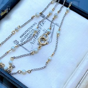 """Edwardian Platinum & 18ct gold, natural Seed Pearl chain, Length: 15"""" / 38cm"""