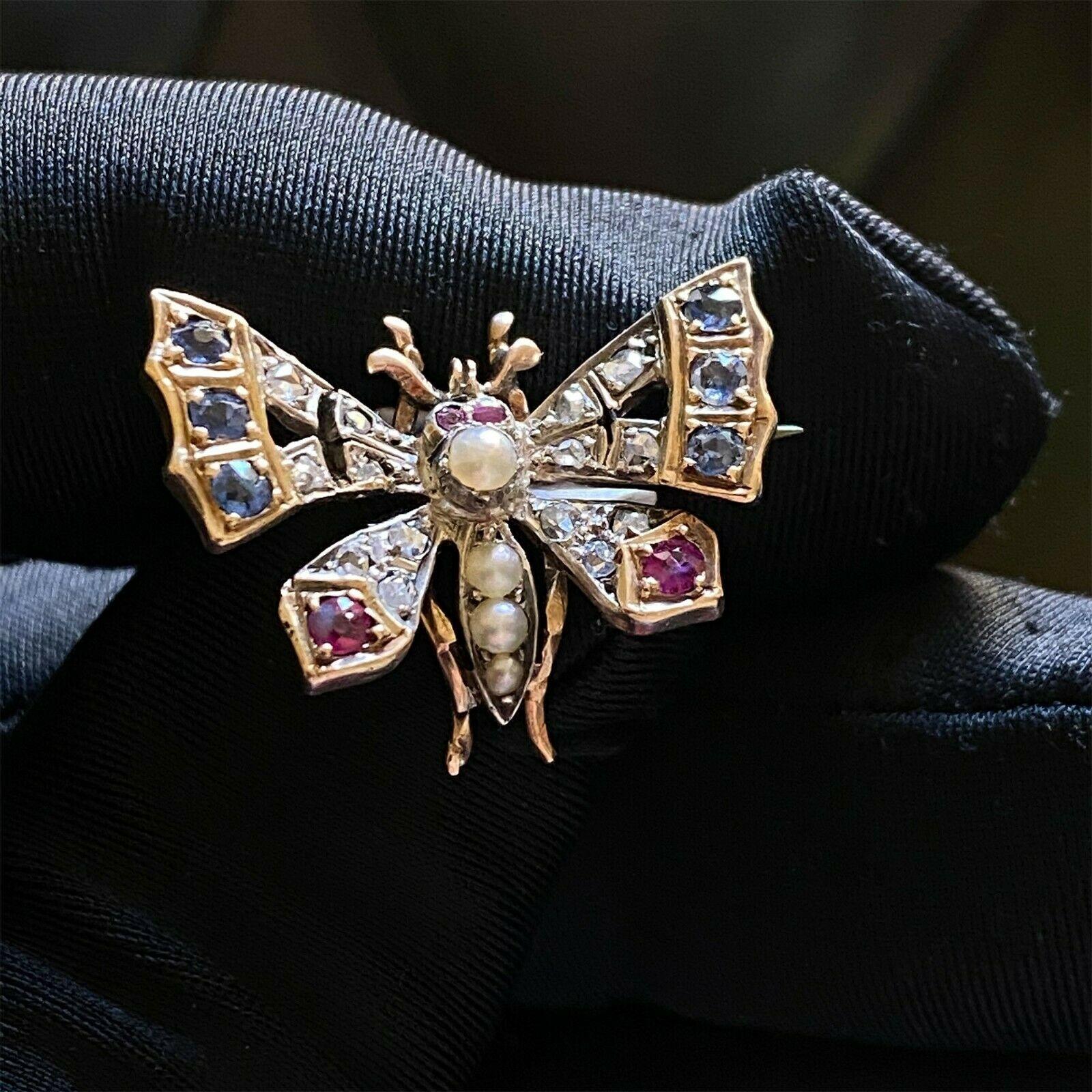 Art Nouveau 15ct/15k,625 Gold Sapphire, Ruby & Rose cut Diamond Butterfly brooch