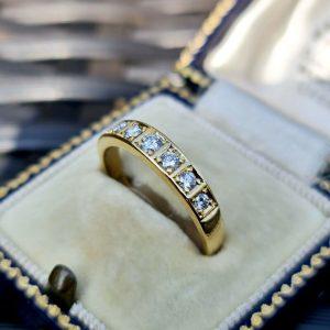 Vintage 18ct, 18k, 750 Gold Diamond 0.40ct Eternity, wedding, stacking Ring