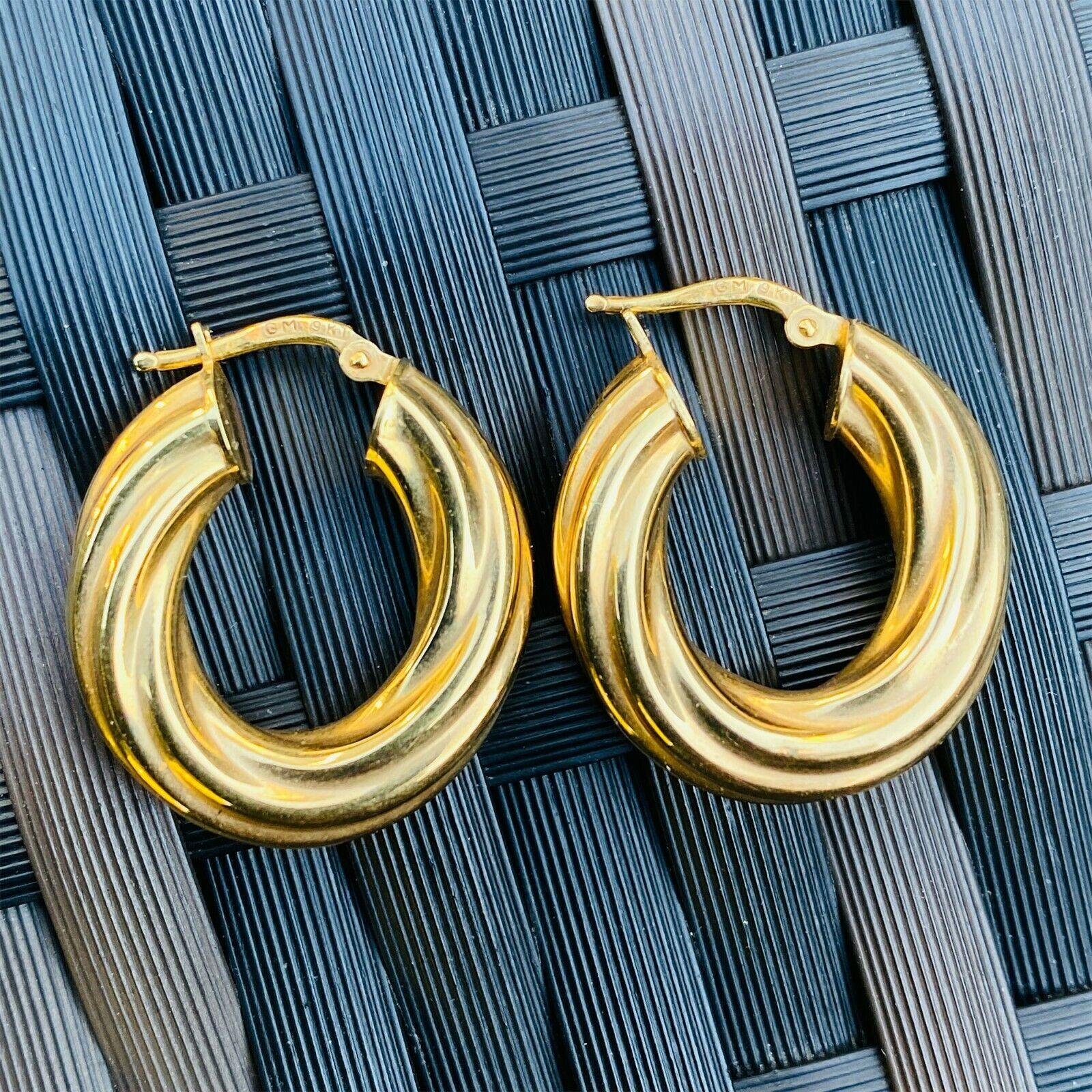 Gorgeous 9ct, 9k, 375 Gold, wide 5.5mm twist, rope hoop Earrings, 23.5 x 22.5mm