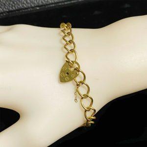Vintage, 9ct, 9k, 375 Gold, solid curb link bracelet with heart padlock clasp
