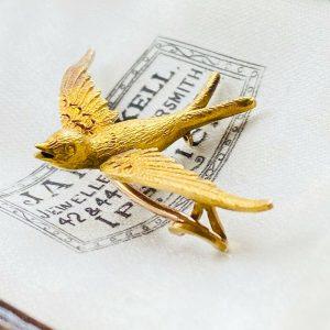 Art Nouveau, 15ct, 15k, 625 Yellow Gold swift, swallow, bird brooch, pin C1895