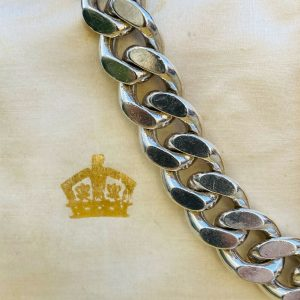 """Heavy, Solid Gents Sterling Silver chunky, curb link bracelet, 9"""" /23.5cm, C1980"""