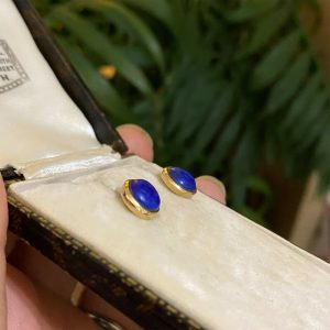 Vintage 9ct/9k, 375 gold Lapis Lazuli stud earrings, with post & scroll fitting
