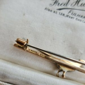 Edwardian 9ct/9K 375 Rose Gold, Silver & Diamond, Pheasant, bird brooch, tie pin