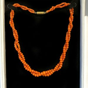 Victorian Dark Red Coral two row necklace on 15ct, 15k, 625 gold barrel clasp