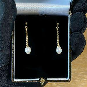 Vintage 9ct, 9k, 375 Gold Cultured Pearl drop earrings