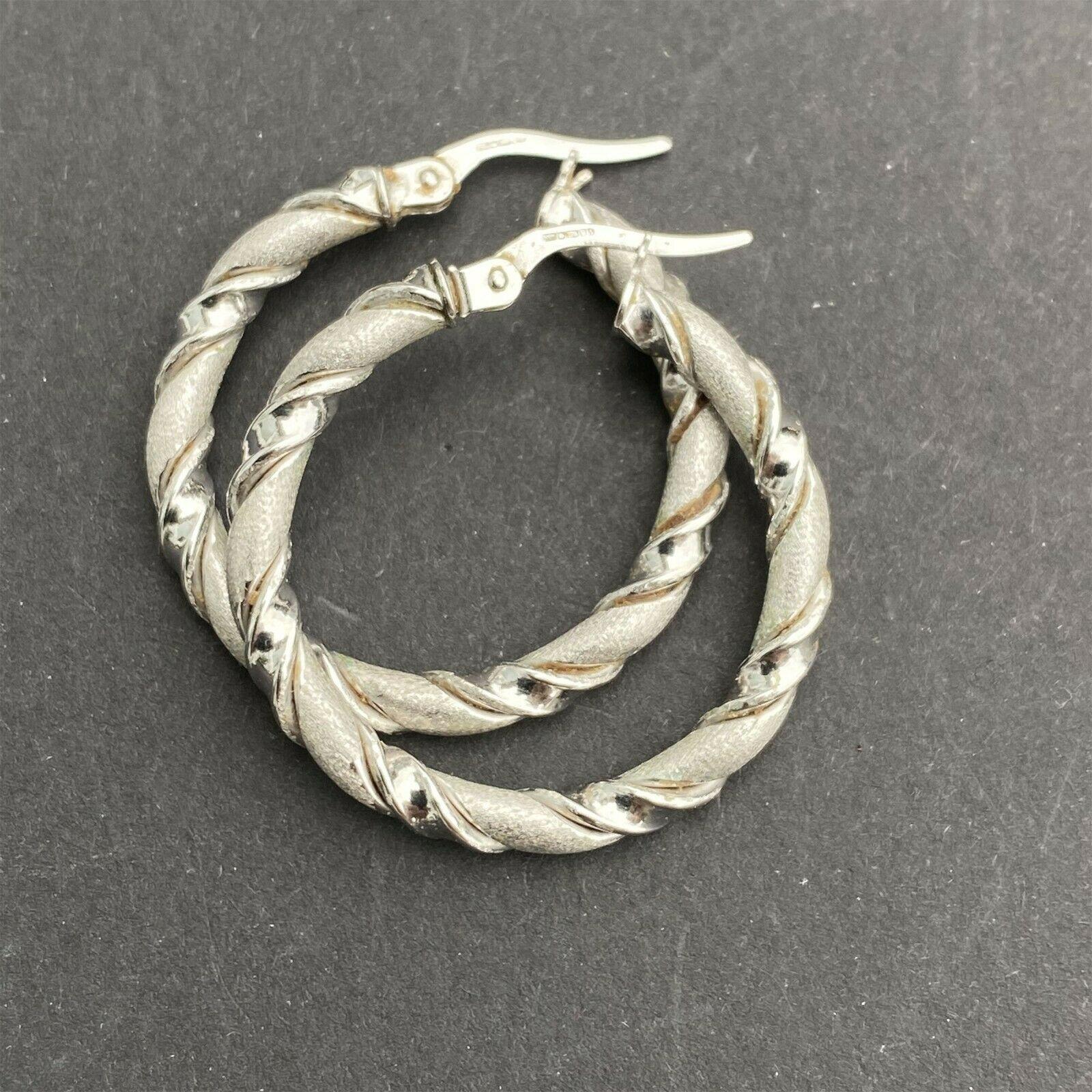 Fabulous, 9ct, 9k, 375 White Gold, twist rope, hoop Earrings, 27.5mm
