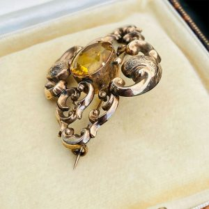 Victorian 15ct, 15k, 625 Rose Gold Citrine glass, ornate brooch, Circa 1840
