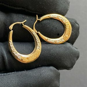 Sweet pair of 9ct/9k, 375 Gold, Oval Hoop Earrings, engraved Together & Forever