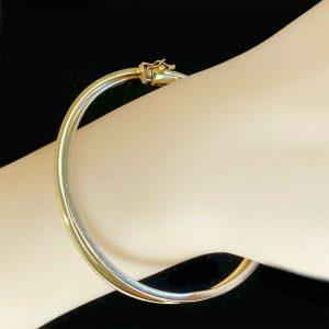 Modern 9ct, 9k, 375 White & Yellow Gold double bangle, fully hallmarked