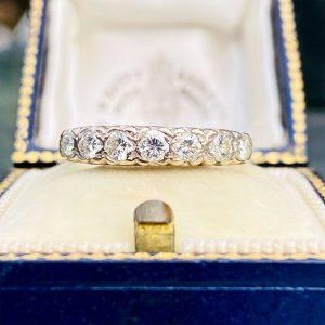 Vintage 18ct, 18k, 750 gold, Diamond Half eternity, anniversary, stacking ring
