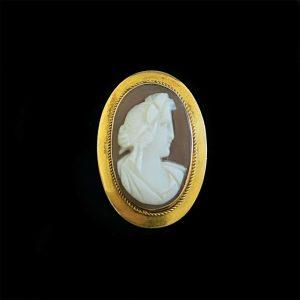 Antique, 9ct, 9k, 375 Gold classical Cameo portrait Brooch, 19.5 x 28.5mm, C1860