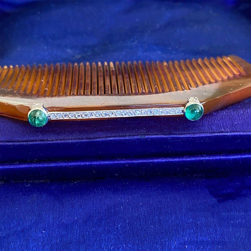 Rare, Art Deco Platinum Emerald and Diamond hair comb, hair slide, Circa 1920