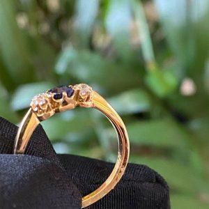 Art Deco, 18ct, 18k, 750 Gold Sapphire & Diamond trilogy engagement Ring, C1920