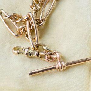 Edwardian 9ct, 9k, 375 Rose Gold bracelet with two, dog clip fittings & T-bar